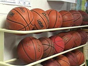 Racks of Basketballs