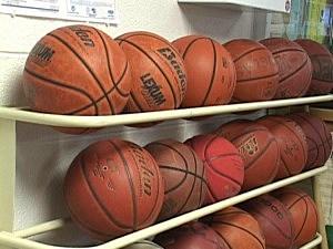 Racks of Basketballs